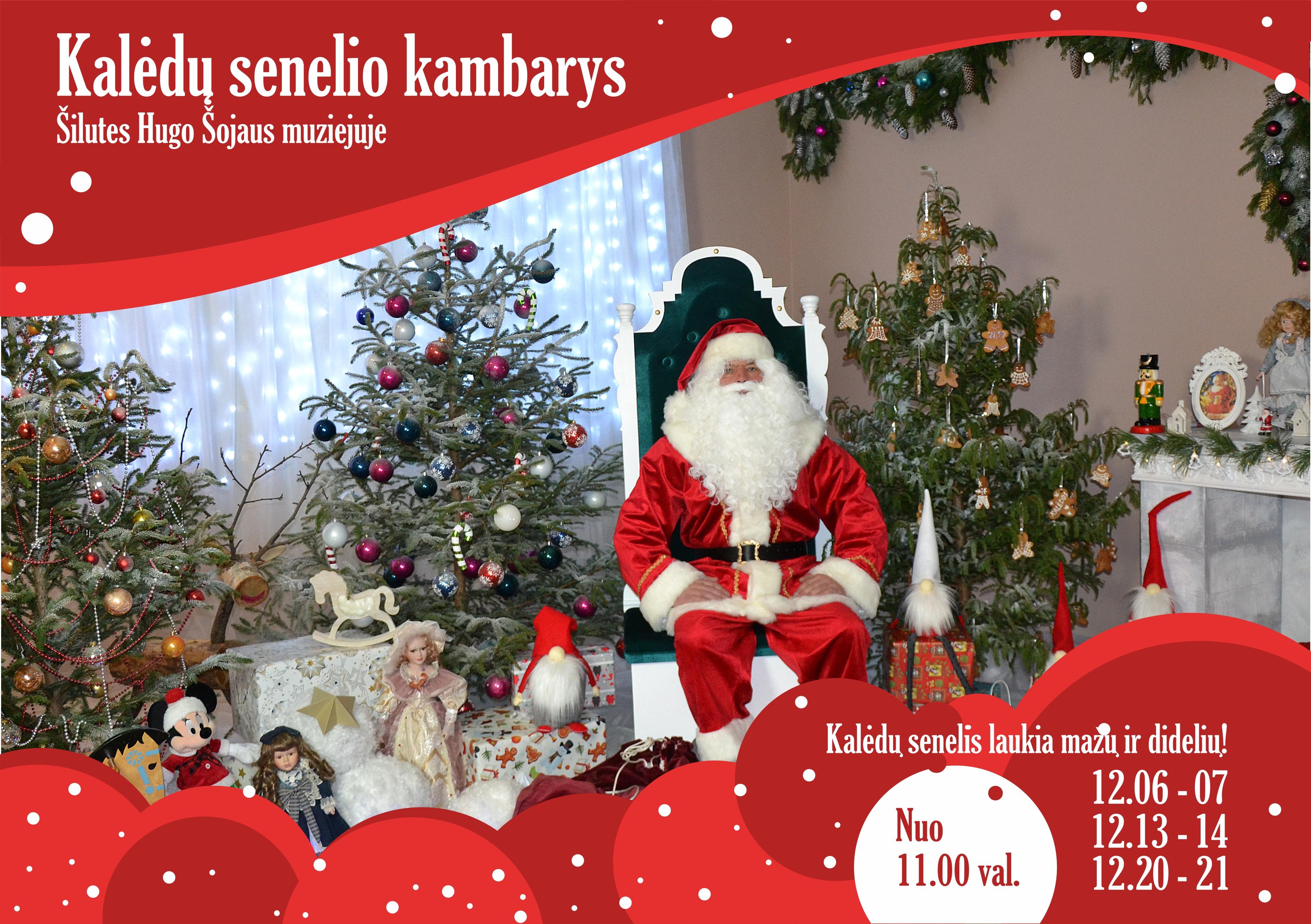 Kalėdų senelis atvyksta į Šilutės Hugo Šojaus muziejų