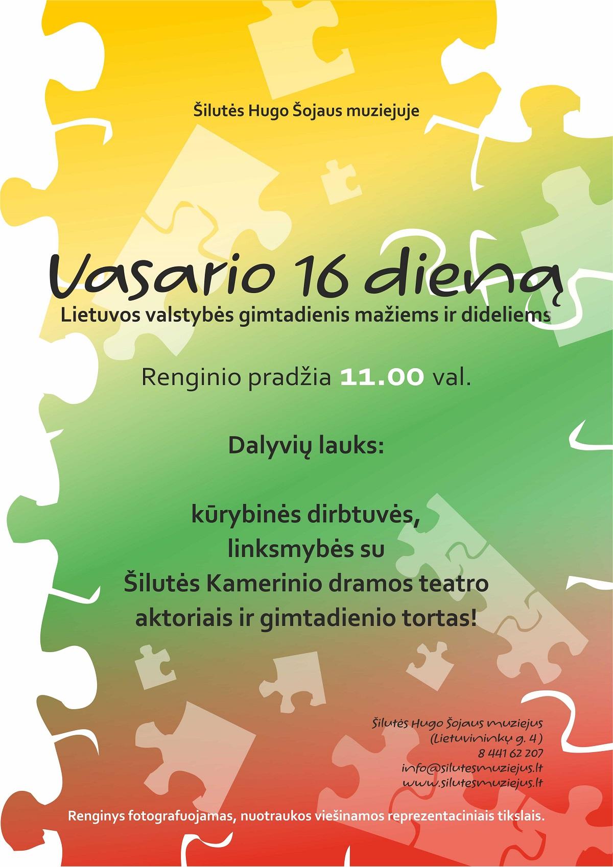 Švęskime Lietuvos gimtadienį Šilutės Hugo Šojaus muziejuje