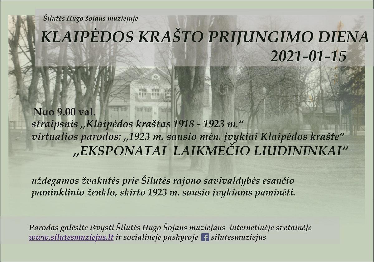 2021 m. sausio 15 d. Klaipėdos krašto prijungimo dienos minėjimas.