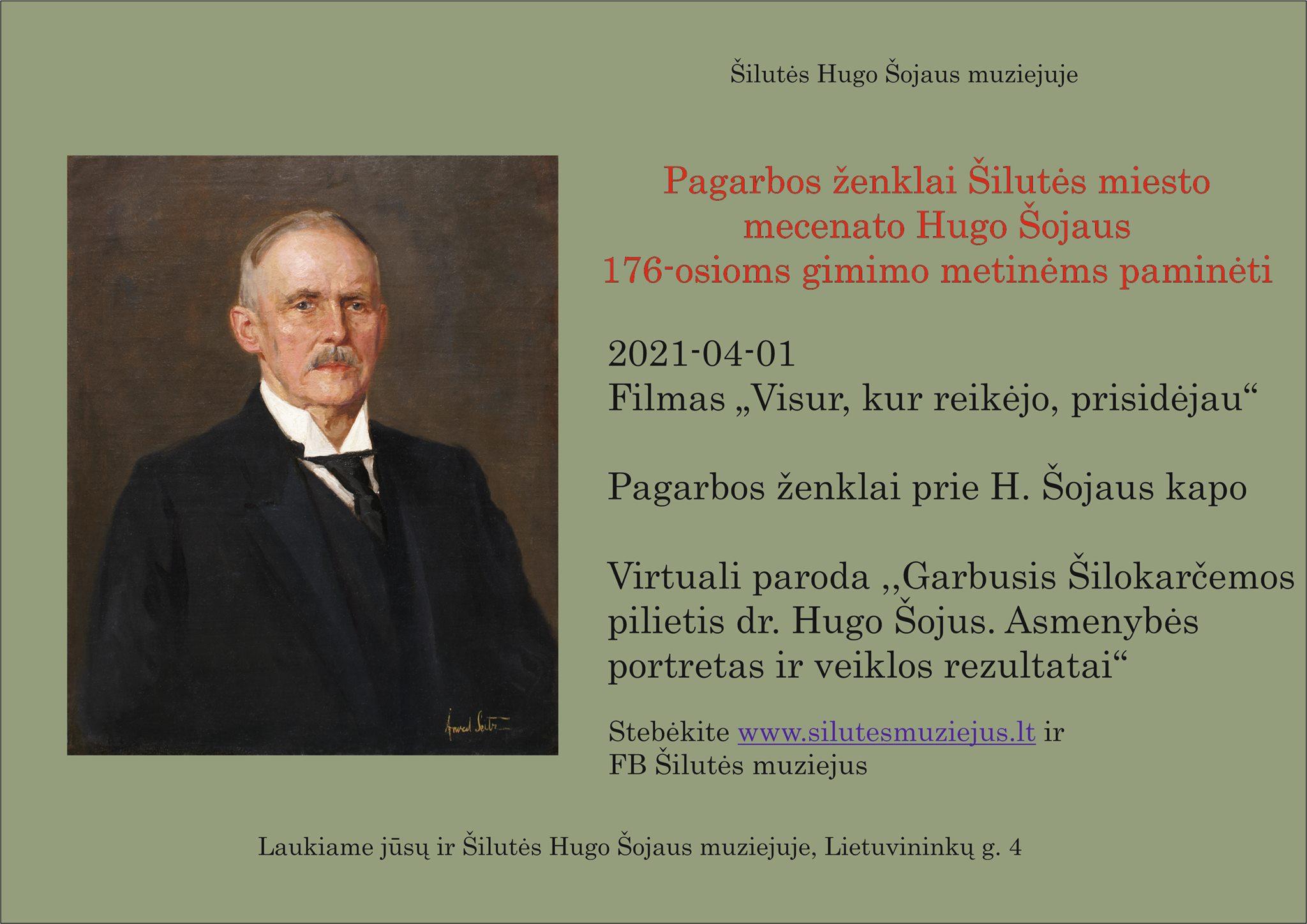 Kviečiame drauge paminėti dr. Hugo Šojaus 176–ąsias gimimo metines.