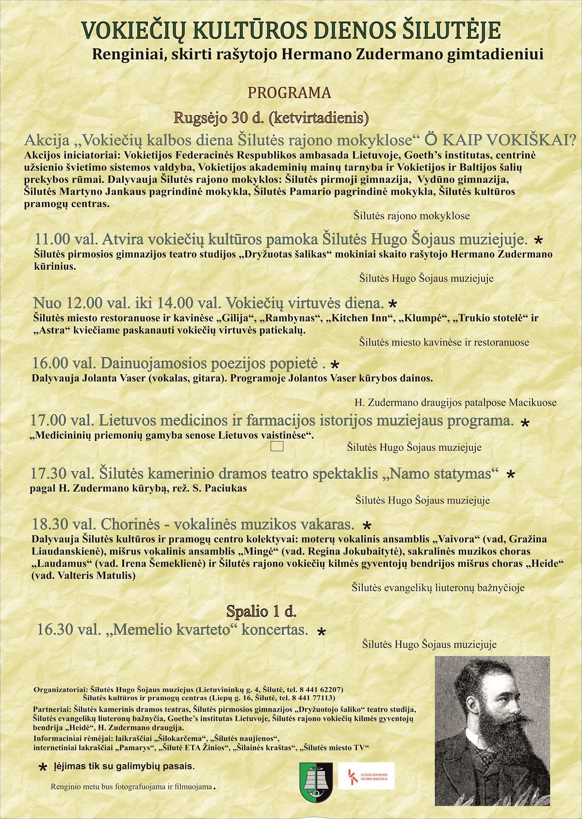Vokiečių kultūros dienos Šilutėje. Renginiai rašytojui Hermanui Zudermanui prisiminti