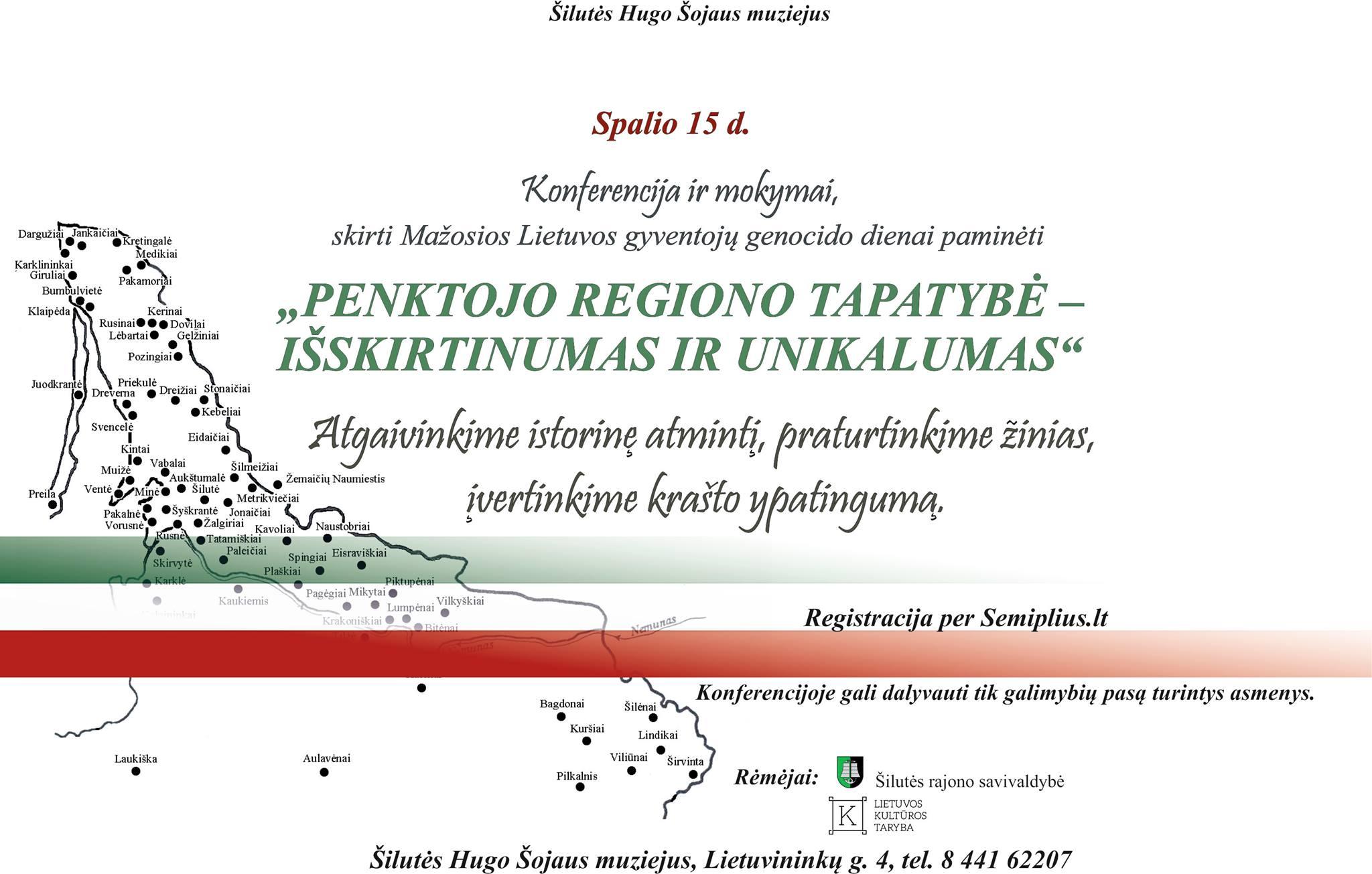 """Registracija į konferenciją ir mokymus """"Penktojo regiono tapatybė – išskirtinumas ir unikalumas"""""""